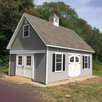 18x20 Patriot 12 Pitch with cupola Larger Windows Vinyl Siding window Trim Shutter combo Upgrade doors to Carriage 8' Rolling Doors with 9 lite Ramp
