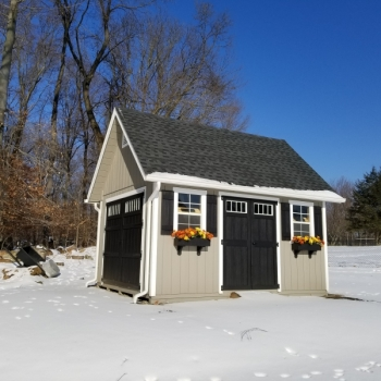 12x16 Patriot 1 Story 12 Pitch A-Frame With Transom Windows In all Doors 1 Extra Set of 8' Double Doors Trim Shutter Combo on Windows 2 Classic Flower Boxes