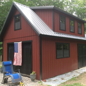 14x24 12 Pitch 2 Story Patriot 9' Garage Door Vented Soffit Upgrade Bottom 2 windows to 30x36 with trim Transom in Double Door Metal Roof 16' Long House Dormer