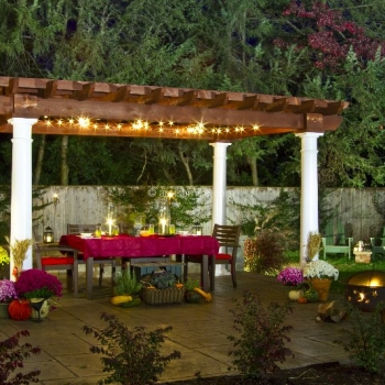 Artisan Wood Pergola with Vinyl Columns