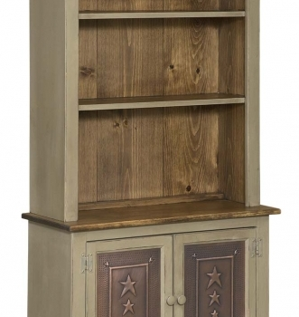 IE-64T Bookcase with base and tin doors 32wx13dx64h