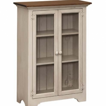J-123 Small Bookcase with Glass 31wx14dx44h