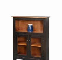 HB- 23-1-G 4' Bookcase with Bottom Glass Doors 38wx48hx14d