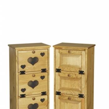 IE- 34w 3 Bin Cabinet with Wood Door 17wx11 1/2dx36h