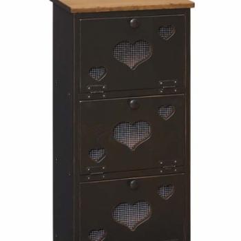 IE-34H 3 Bin Cabinet with Wood Door 17wx11 1/2dx36h