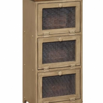IE- 34M 3 Bin Cabinet with Mesh Doors 17wx11 1/2dx36h