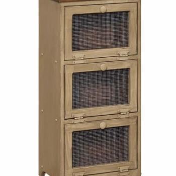 IE- 34M 3 Bin Cabinet with Mesh Doors 17wx11 1/2dx36h