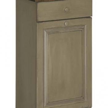 IE-82W Trash Bin Cabinet with Wood 19 1/2wx12 1/2dx32h