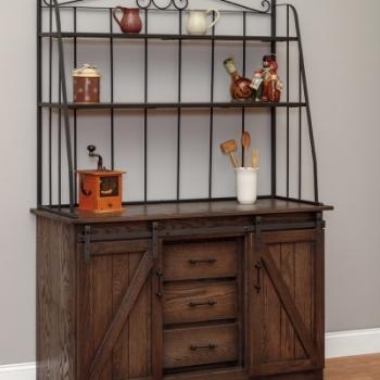 "LP-193 barn door bakers cabinet w drawers 50"" w 20""d 76""H"