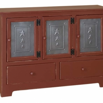 IE-117Td Triple Hall Cabinet with Tin and Drawers 47 1/2wx12 1/2dx33h
