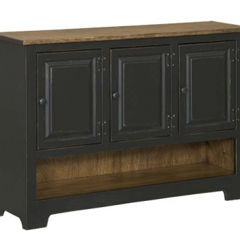 IE-117WO Triple Hall Cabinet with wood 47 1/2wx12dx33h