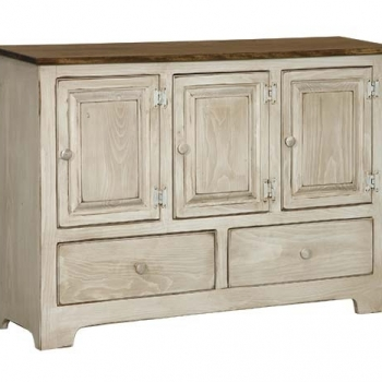 IE-117WD Triple Hall Cabinet with wood and drawers 47 1/2wx12 1/2dx35h