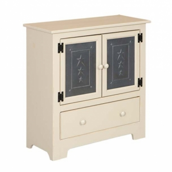 IE-122TD Double Hall Cabinet with Tin and Drawer 32wx12 1/2dx33h