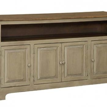 IE-135 W Four Door Plasma Cabinet with Wood 60wx16dx33h