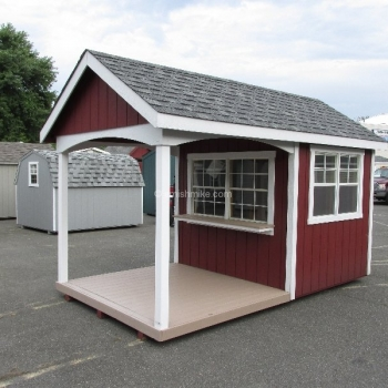 8' x 14' Avalon with T-1-11 Siding, serving counter, Trek porch
