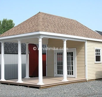 12x20 Avalon poolhouse with taller walls and higher pitch, extra columns with 15 lite prehung doors and Trek floor