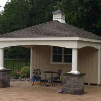 "13 x 16 Avalon, options seen cupola, 10"" columns, arch trim boards, stone columns set by customer."