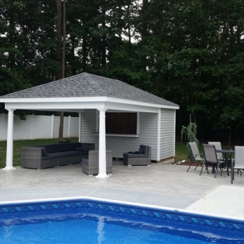 12 x 20 Avalon with vinyl siding, hinged windows, serving counter.