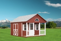 10x16 Lanco Red Cape Cod Shed with optional gable vents, 1/2 round window, 2B windows, 1 extra single 9 lite door