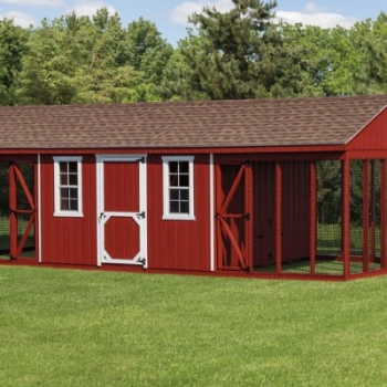 12' x 28' A-Frame Combination, 12' x 12' House with Two 12' x 8' Runs