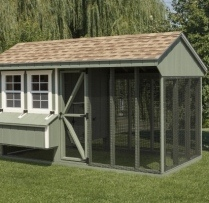 5-ft-House-7-ft-Run-Light-Green-Navajo-White-Trim-Shakewood-Shingles-95in-High-Outside-14in-Off-Ground.-Optional-Clean-Out-Lid-Litter-Tray.-Shown-With-12x12-in-Wire-on-Run.