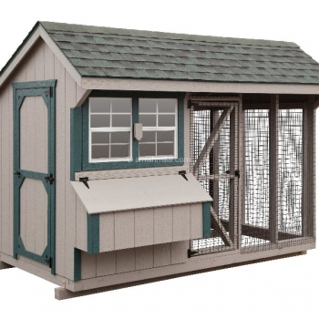6' x 10' Quaker Combination Style Chicken Coop