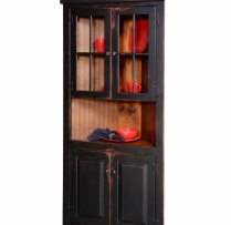 "HB-5-R-G 32"" Corner Cupboard with Top Glass Doors 32wx72hx14d"