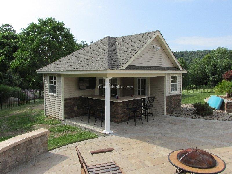 Custom pool houses amish mike amish sheds amish barns for Custom pool house