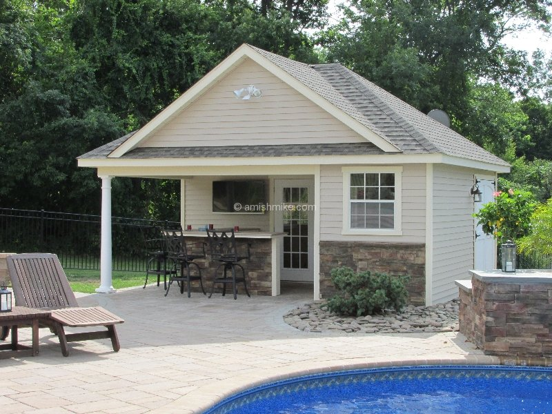 Custom pool houses amish mike amish sheds amish barns for Manufactured pool house