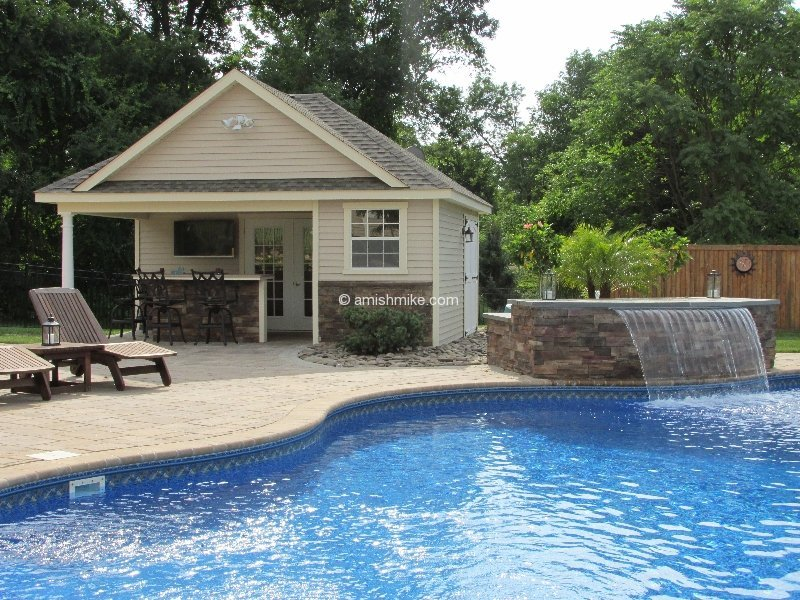 Custom pool houses amish mike amish sheds amish barns for Custom pool cabanas