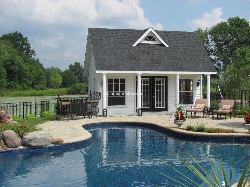 Custom pool houses amish mike amish sheds amish barns for Pool house shed ideas