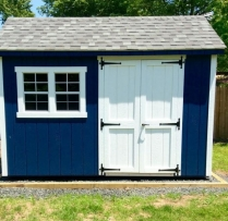 8x12 Deluxe Elite Navy Blue Paint and White Doors