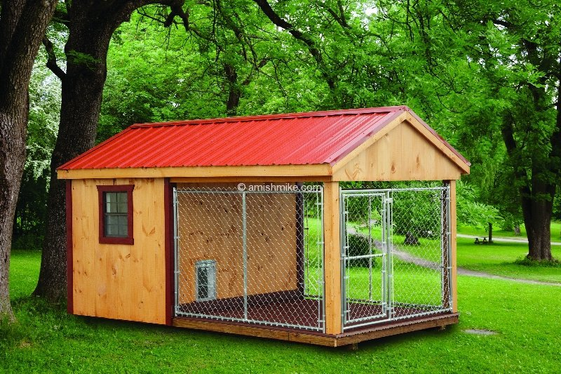 A frame chicken coops and dog kennels wooden amish mike for Dog kennel shed combo plans