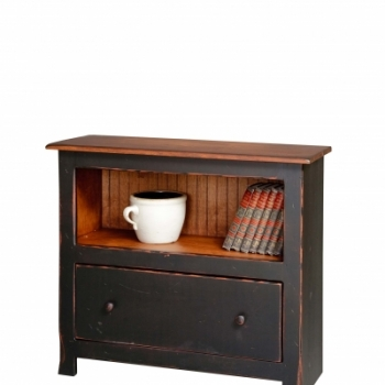 VIN-19-A-1 3' Bookcase with 1 Drawer 36wx32hx14d