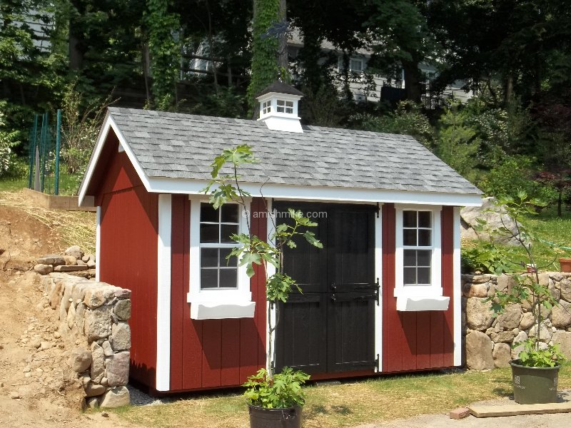 8 x 12 new england elite with red body white trim black - Garden Sheds Nj