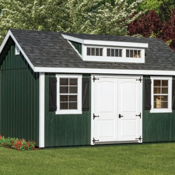 10x16-New-England-Elite-Dual-black-Shingles-Forest-green-body-with-white-trim-3-transom-dormer-2-Panel-FG-Door
