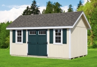 10' x 16' New England Elite with optional ridge vent, transom windows, flower boxes, window trim/shutter combo
