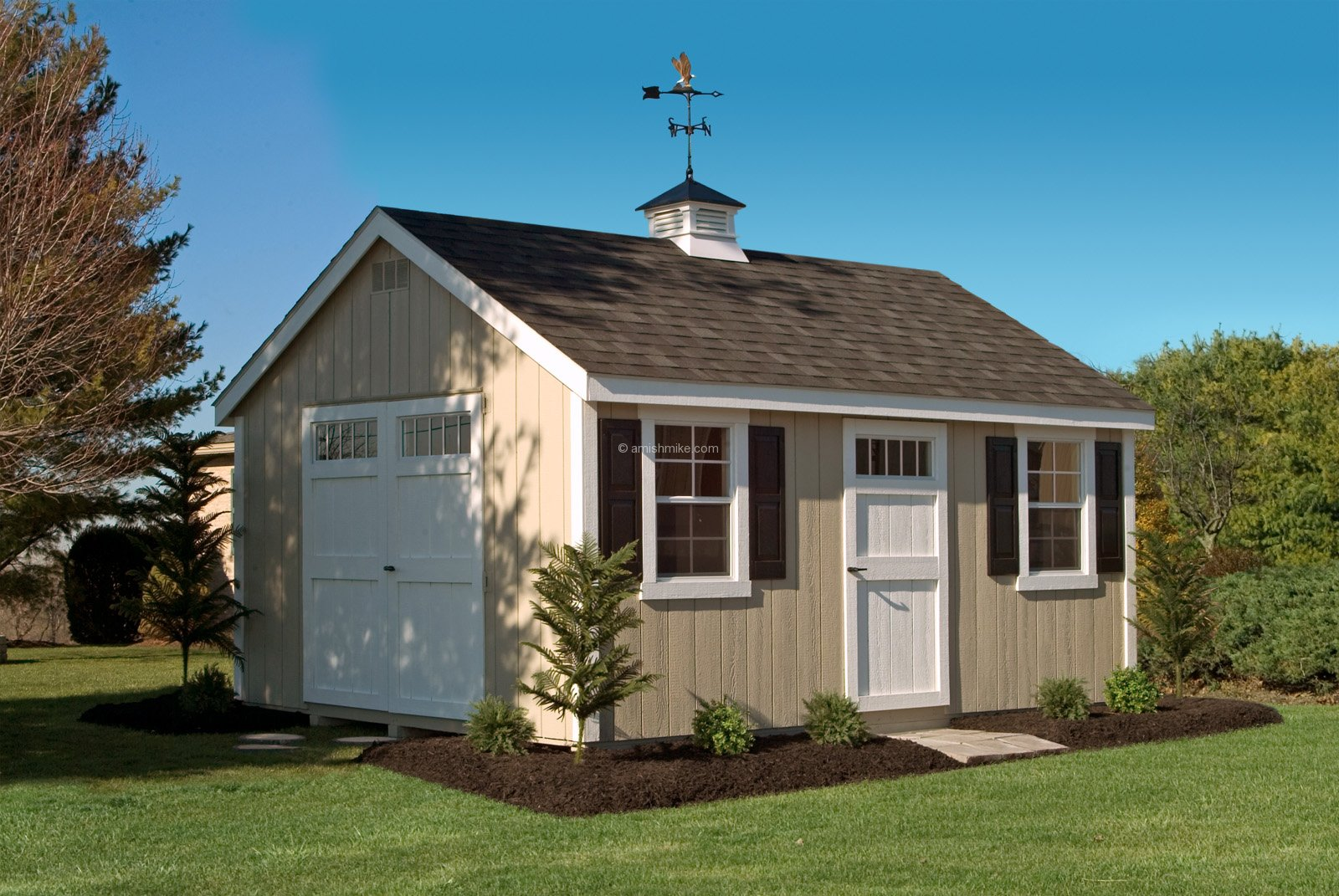 Deluxe with dormer transom windows and cupola - 12 X 16 New England