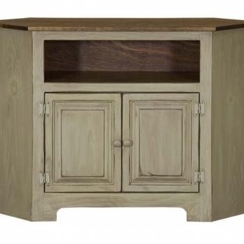 IE-103W 2-Door Corner Plasma Cabinet with Wood 47wx16dx33d