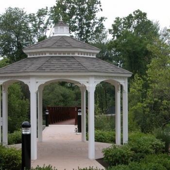 14' Vinyl Octagon Gazebo with Arched Headers