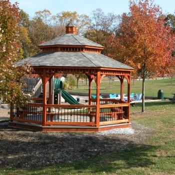 16' Cedar Stain Wood Octagon Gazebo