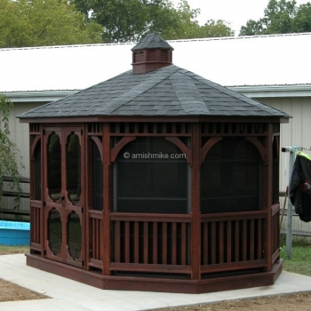 10' x 14' Oval Wood Gazebo with Windows