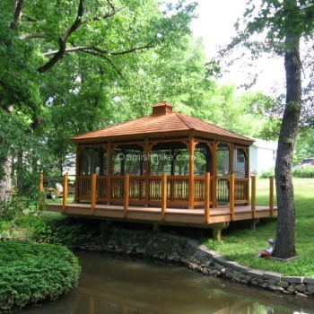 12' x 16' Rectangle Wood Gazebo with Deck