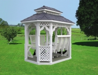 White Vinyl Gazebo Swing