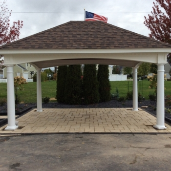12x16 Hampton Pavilion, Dual Brown Shingles