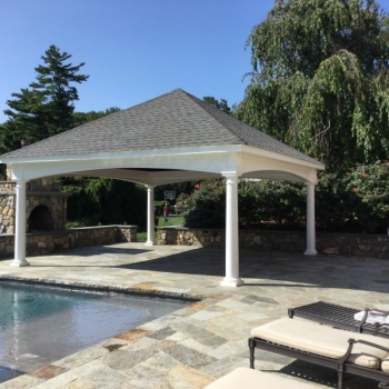 20x20 Hampton Pavilion with upgraded headers and customer supplied shingles.