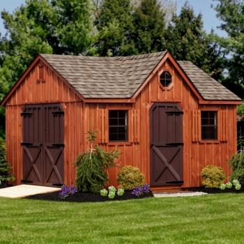 12x14 Dormer, Weatherwood shingles, Rustic Cedar Stain, Brown Painted Doors, Angled Double Doors, Strap Hinges, Vents, Ramp