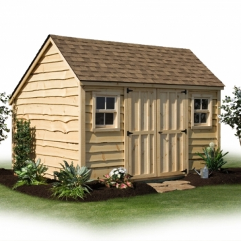 10x12 Garden Shed with Heritage Siding, Earthtone Shingles, Heritage siding, 4 Lite Windows