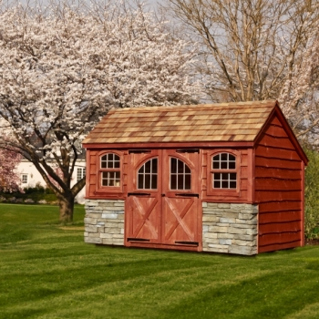 8x12 Garden Shed with Heritage Siding, Cedar Shake Roof, Heritage Siding, Dry Ledge Stone Front, Rustic Cedar Stain, Carriage Doors, Arch Top Windows