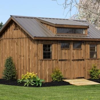 10x14 Manor Delight Bronze Metal roof, Mushroom Stain, Strap Hinges, Transom Window in door, Vents